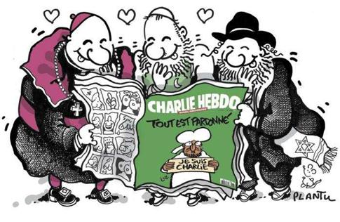 15a15 Cabu Le Monde Religiosos tres religiones se rien con Charlie Hebdo Uti 485