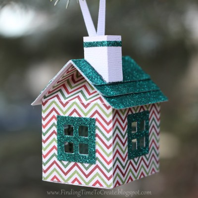 House Ornaments - glitter trim with chimney