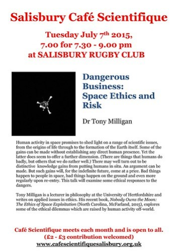 Poster for Dr Tony Milligan