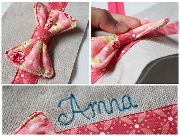 Sew bow onto pouch