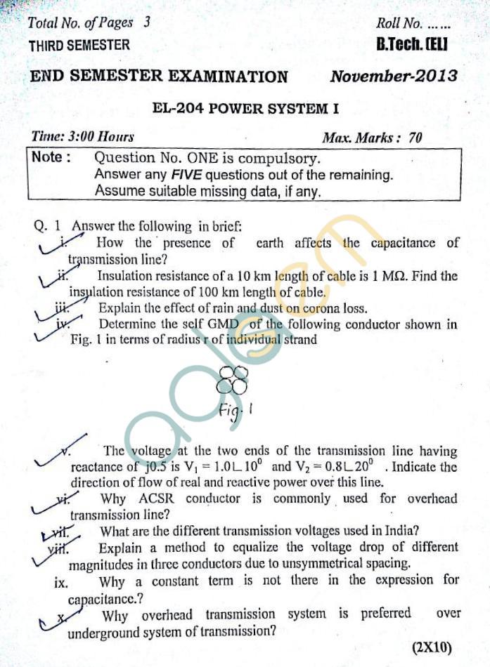 DTU: Question Papers 2013 – 3 Semester - End Sem - EL-204