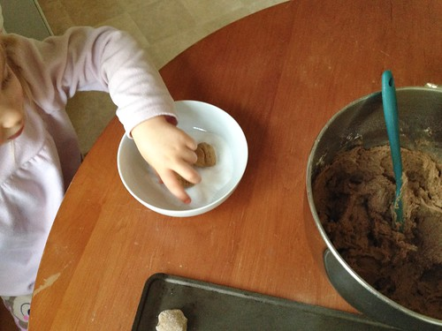 rolling gingersnaps in sugar