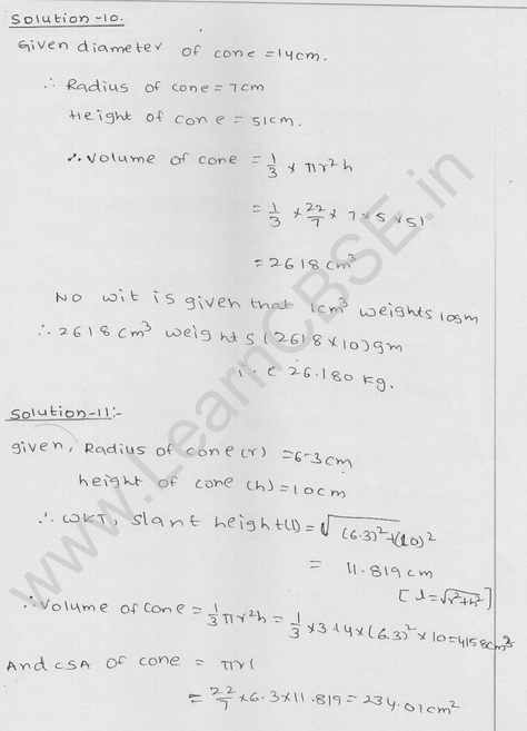 RD Sharma Class 9 solutions Chapter 20 Surface Area and volume of A Right Circular cone Ex 20.2 10