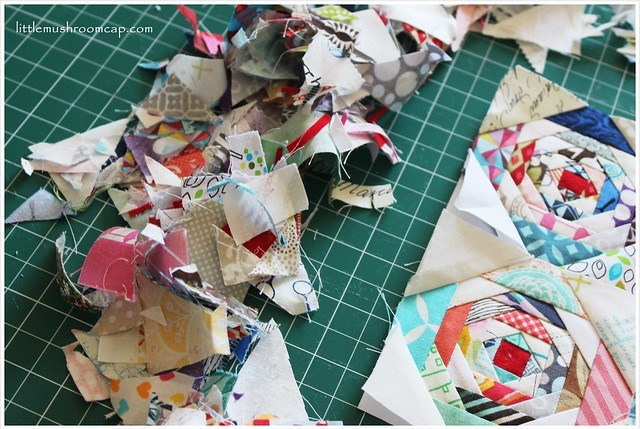 sewing pineapple paper-pieced blocks - the mess from paper piece