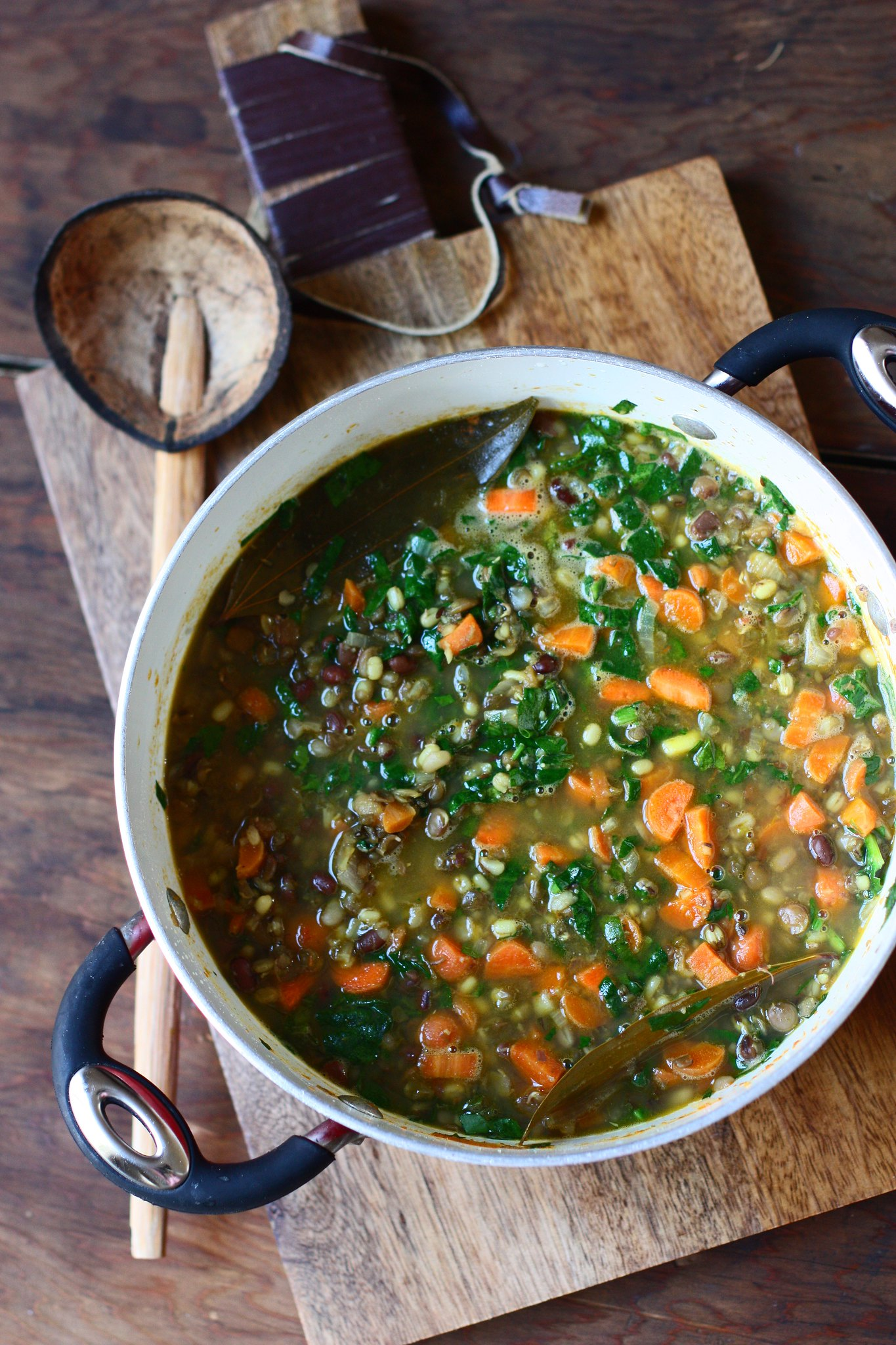 3 Bean Carrot- Spinach Spicy Stew(Indian Style)