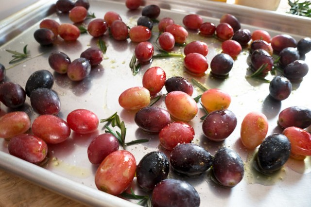 Grapes with olive oil, sea salt, and rosemary