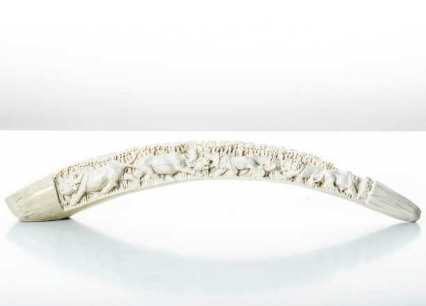 Sculpted African ivory tusk