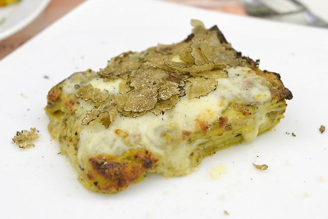 Lasagna Porcini E Tartufo Nero lasagna with porcini mushrooms, black truffle, mozzarella and parmesan