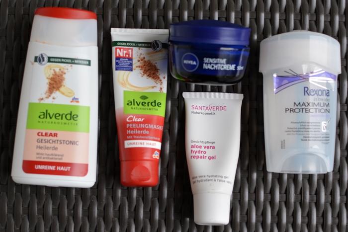 alverde Clear Heilerde Gesichtstonic Peelingmaske_santaverde hydro repair gel_nivea_Rexona maximum protection deo