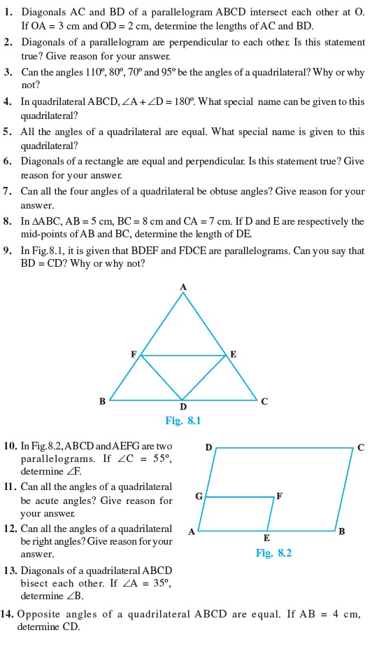 Class 9 Important Questions for Maths - Quadrilaterals