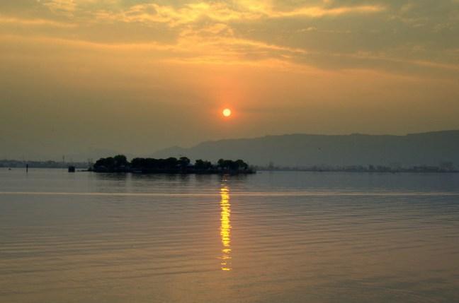 Beautiful view of Sunset at Ana Sagar Lake, Ajmer
