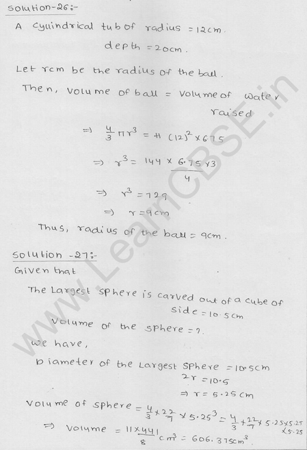 RD Sharma Class 9 solutions Chapter 21 Surface Area and volume of A Sphere Ex 21.1 26