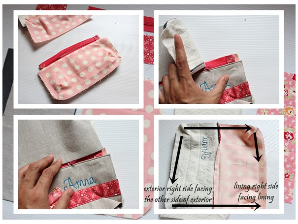 Bow Pouch tutorial on littlemushroomcap.com - Final assembly