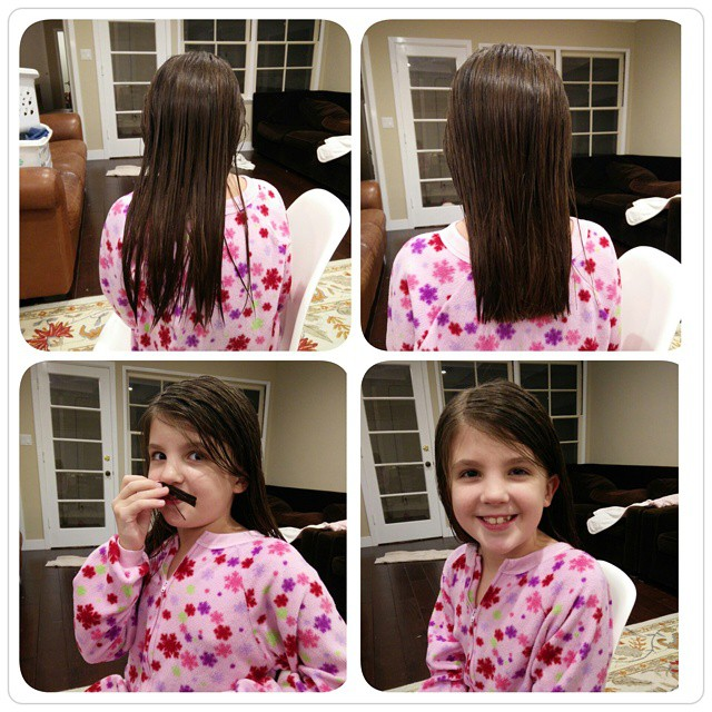 Haircut night at our house! my first customer looks happy! :-)