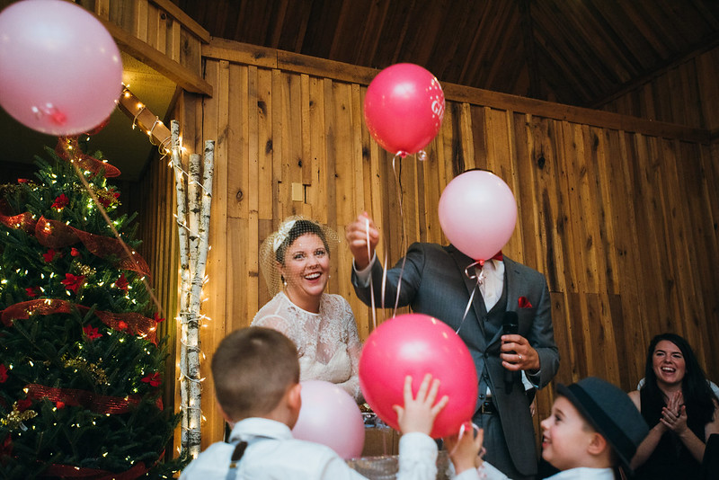 An intimate rustic Christmas with a baby gender reveal on @offbeatbride