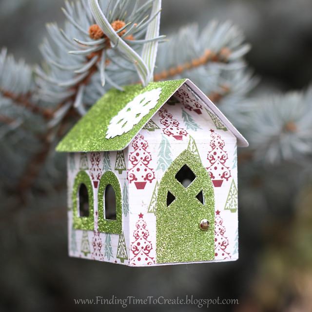 House Ornaments - light green glitter
