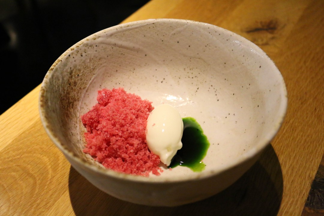 Yoghurt sorbet, tarragon oil and raspberry granita