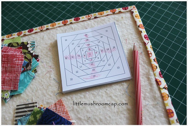 Prepping for sewing pineapple paper-pieced blocks -colouring dark value placement