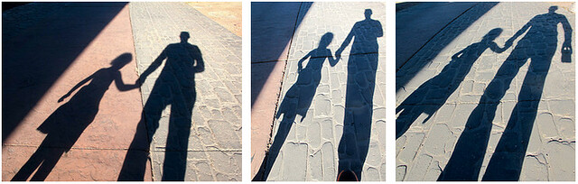 Anais and Dad shadows in Santa Fe
