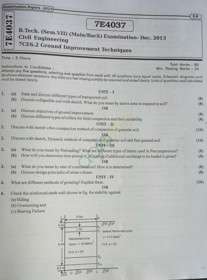 RTU: Question Papers 2014 - 7 Semester - CE - 7E4037