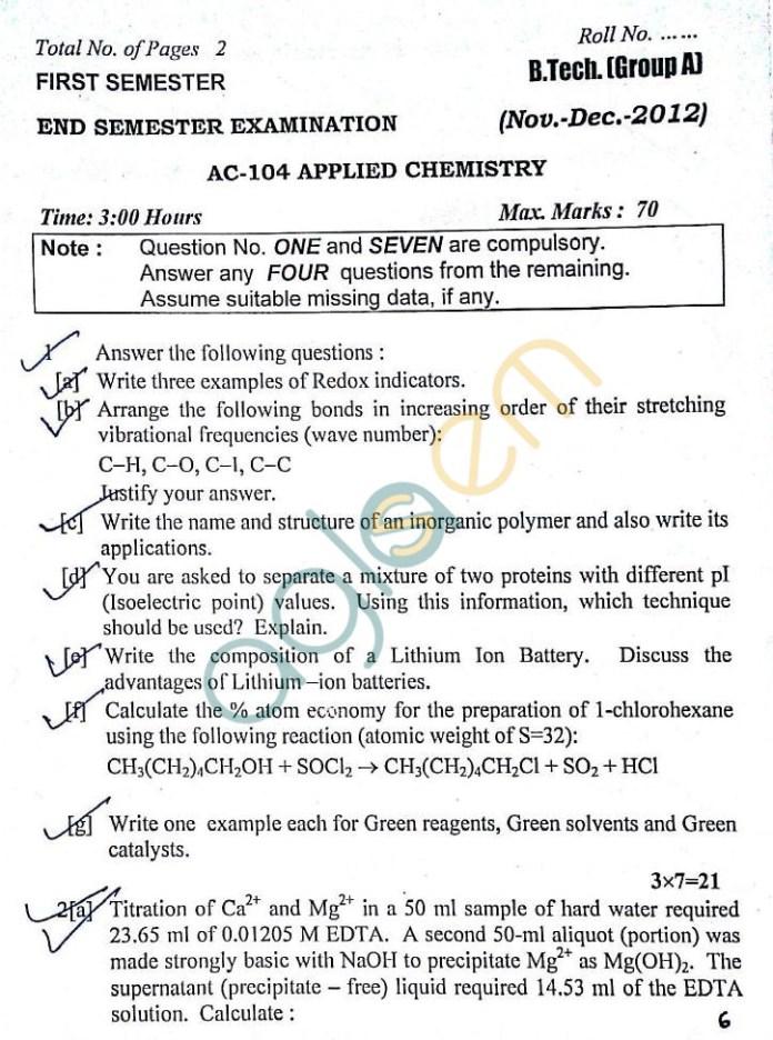 DTU: Question Papers 2012 – 1 Semester - End Sem - AC-104