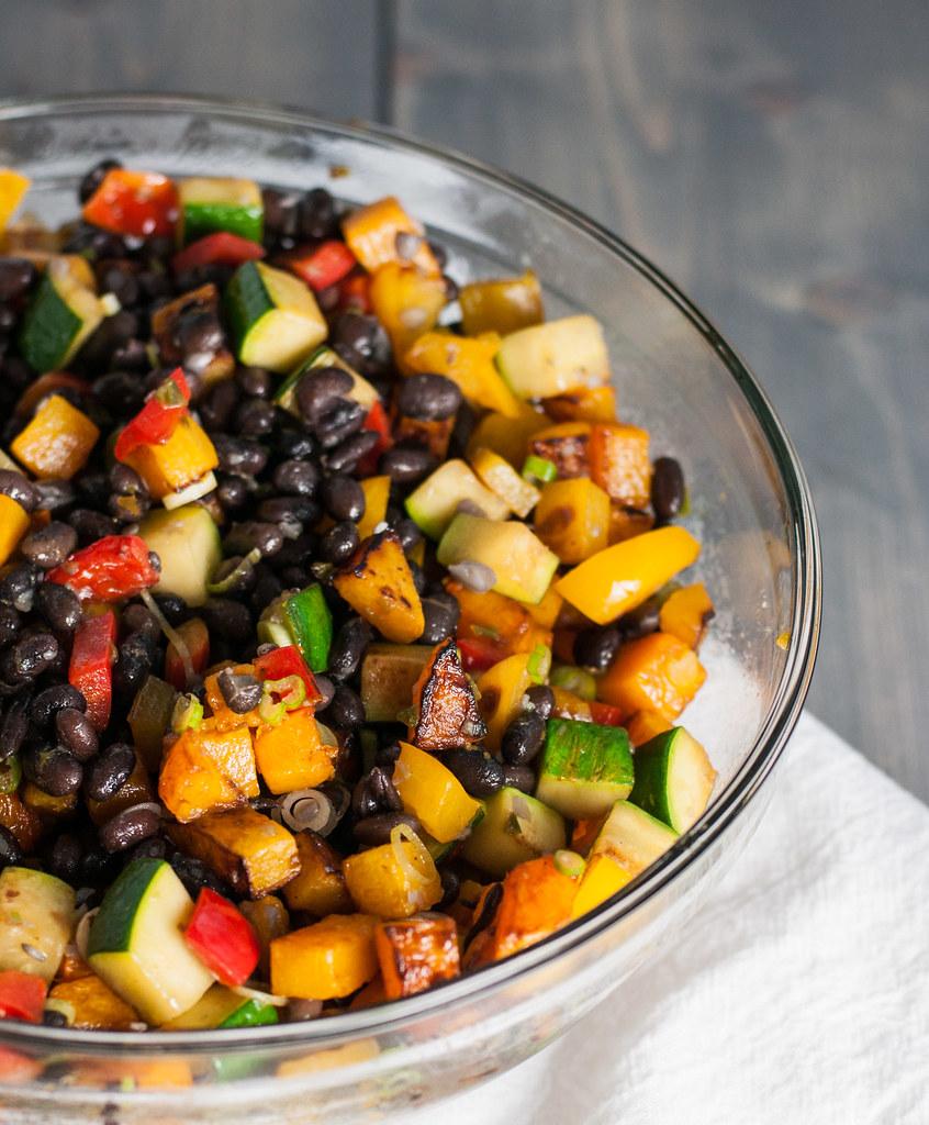 Black bean & butternut squash nacho cheese hot dish | #meatless #recipe at Natural Comfort Kitchen