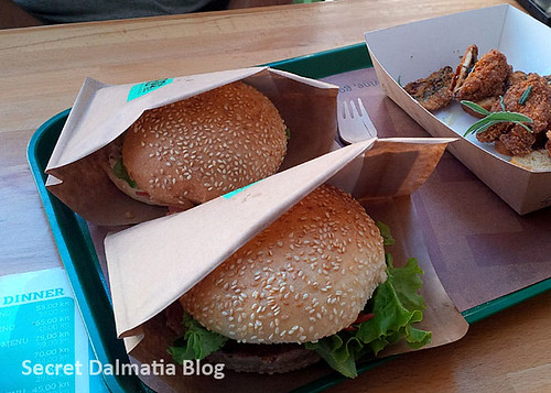 Shrimp burger, tuna burger and chilly sardines
