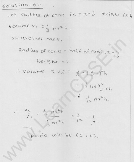 RD Sharma Class 9 solutions Chapter 20 Surface Area and volume of A Right Circular cone Ex 20.2 8