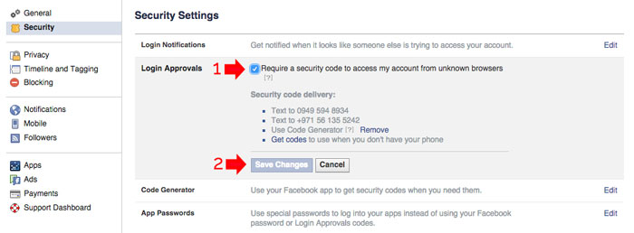 Add Security to Facebook Account