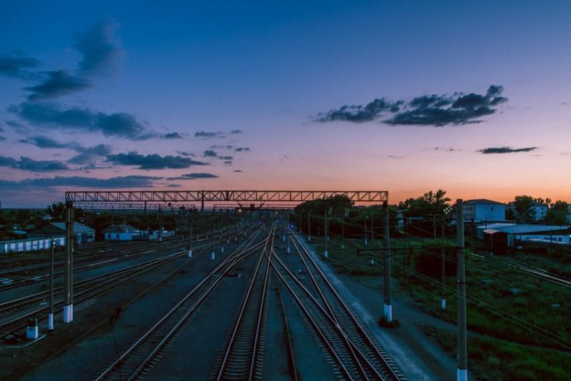 Train tracks at dusk.
