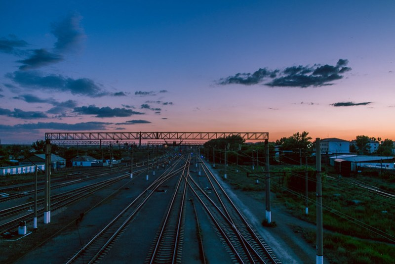 Train tracks at dusk.