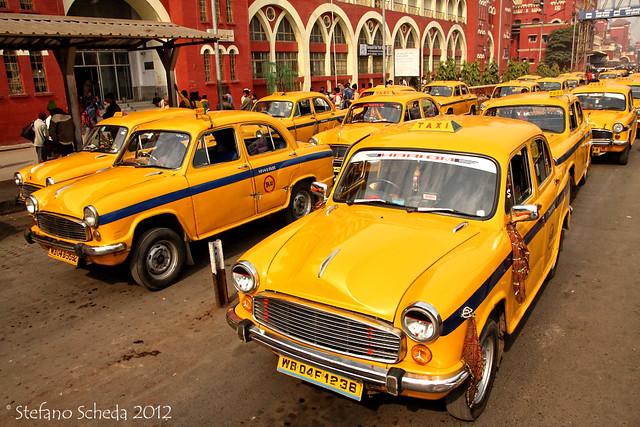Taxi lines at Owrah railway station - Kolkata, India