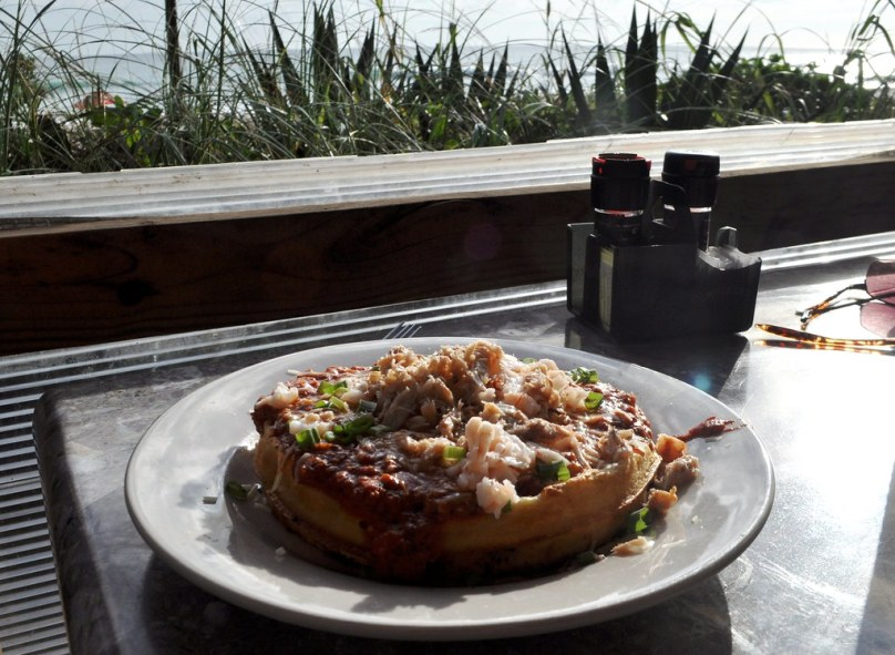 Shrimp & Crab Wicked Breakfast Waffle  - Breakfast at Sand on the Beach - Melbourne Beach, Fla., Nov. 8, 2014