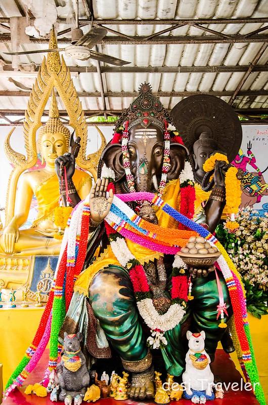 Ganesha Idol in Buddhist Temple Thailand