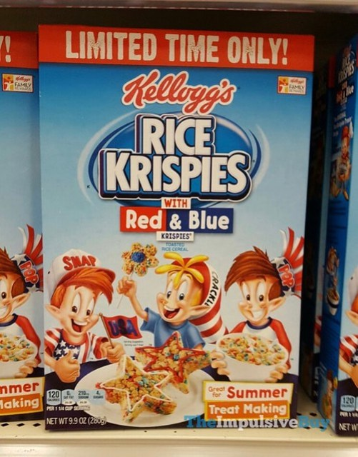 Limited Time Only Kellogg's Rice Krispies with Red & Blue Krispies Cereal