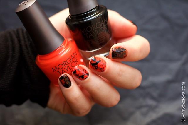 03 Morgan Taylor Halloween Collection 2014   Orange Crush swatches splatter nails