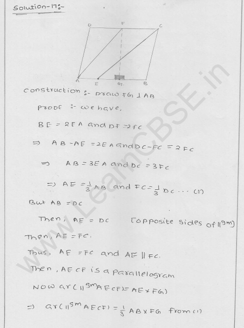 RD Sharma Class 9 solutions Chapter 15 Areas of parrallelograms and Triangles Ex 15.3 13