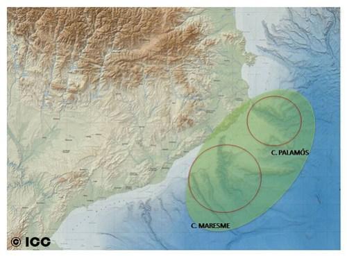 Área estudio cañones Maresme y Palamós