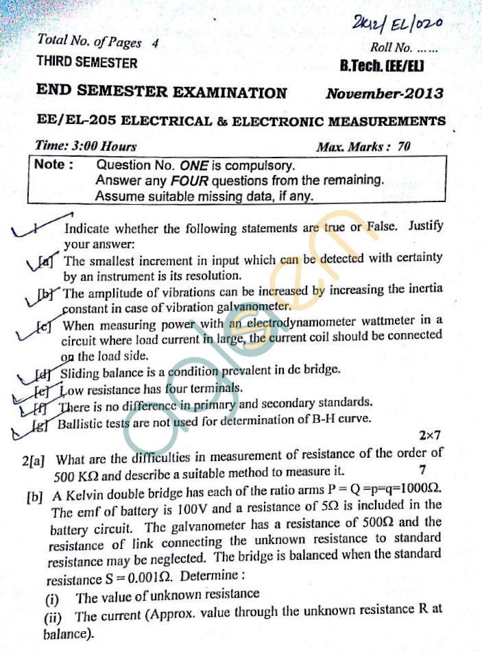 DTU: Question Papers 2013 – 3 Semester - End Sem - EE-EL-205