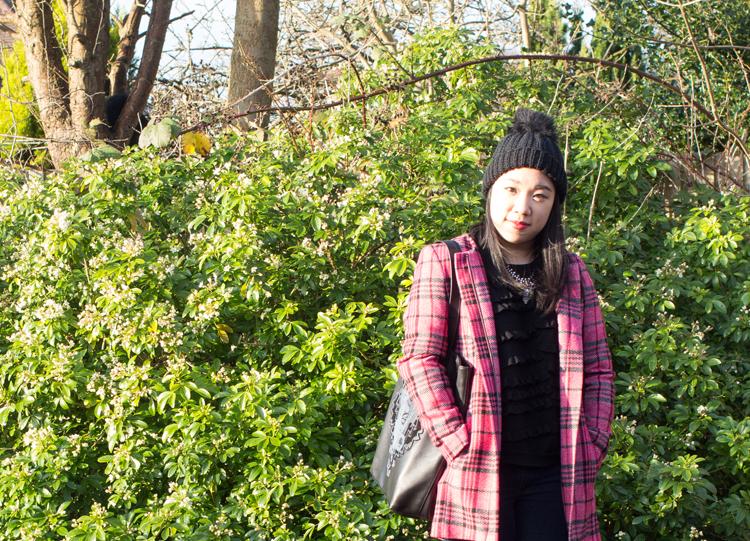 Pink coat tartan outfit