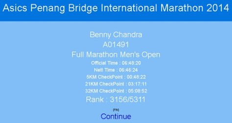 Penang Marathon Official Result