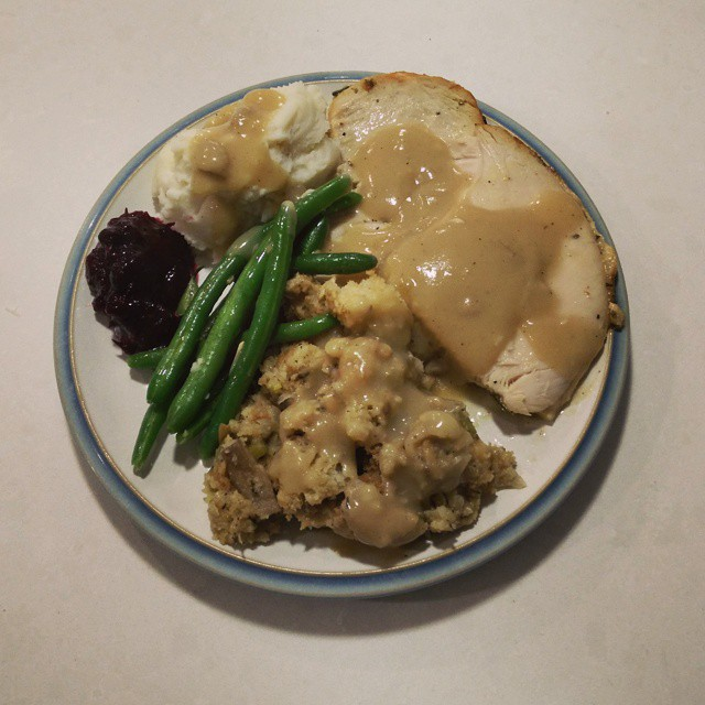 Delicious  Thanksgiving dinner at home... Cooked by my private chef, aka Whole Foods. :-)