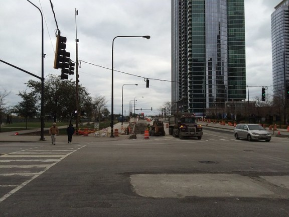 Roosevelt raised bike lane construction from State to Indiana