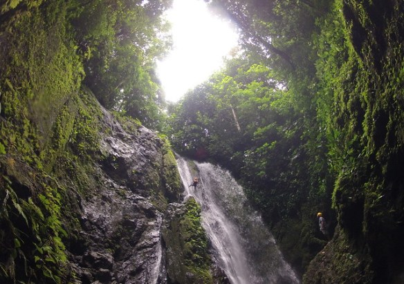Costa Rica waterfall rappelling photo