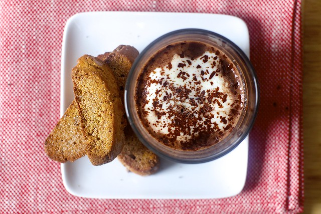 gingerbread biscotti, hot chocolate