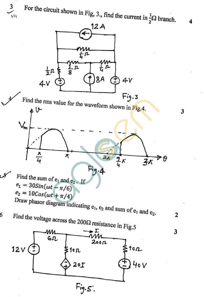 DTU: Question Papers 2012 – 1 Semester - Mid Sem - EE-105