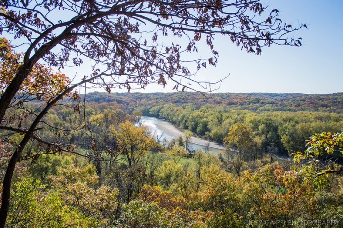 River Hiking Trail During Fall Autumn in Castlewood State Park