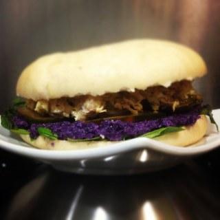 Lombarda en hamburguesa vegetal. koketo