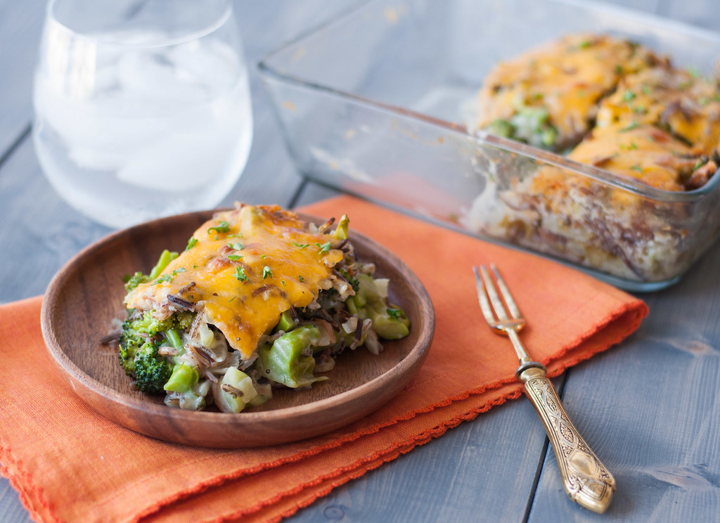Broccoli Cheddar Wild Rice Bake   recipe at Natural Comfort Kitchen