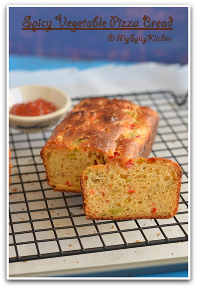 Blogging Marathon, Baking Marathon, FireUpYourOven, Spicy Bread, Spicy pepperoni bread, Spicy vegetable bread